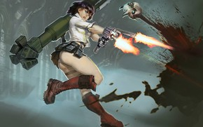 Picture girl, weapons, jump, art