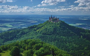 Picture forest, castle, Germany, hill, Hohenzollern, Hohenzollern
