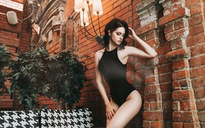 Wallpaper pose, wall, model, brick, makeup, figure, brunette, hairstyle, beauty, is, in black, sexy, body, Anton ...
