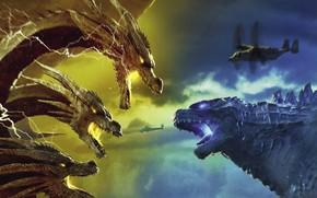 Picture battle, Godzilla, King Gidora, Godzilla: King of the Monsters, Godzilla 2: king of the monsters