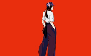 Picture girl, cap, red background, Boku no Hero Academy, My hero Academy, Presence Of Momo