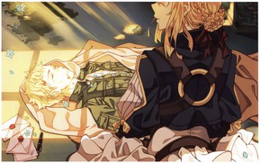 Picture rays of light, military uniform, wounded, letters, from the back, blue flowers, Violet Evergarden, Warm …