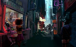 Picture Girls, The city, Bar, Art, Concept Art, Noodle Bar, by Conor Smith, Conor Smith, Noodle …