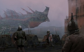 Picture fantasy, Dragon, soldiers, armor, castle, weapons, artwork, warriors, fantasy art, spears, pearls, shields