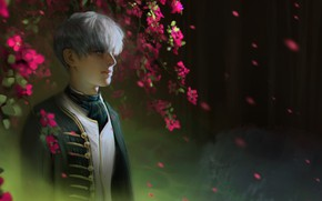Picture branches, tie, guy, white hair, military uniform, blurred background, bangs, flowering tree, lipesti