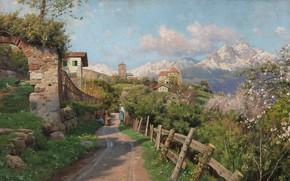 Wallpaper 1913, Spring landscape in the village in Tyrol, Peder Mørk Mønsted, Spring Landscape in a ...