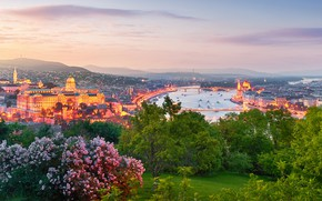 Picture the city, lights, river, the evening, Spring, bridges, Hungary, Budapest, the Danube river