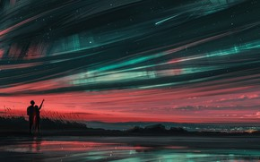 Picture Illustration, by Alena Aenami, Art, Girl, Milky Way, Stars, Landscape, Silhouette, Stars, Environments, Night, Sunset, …