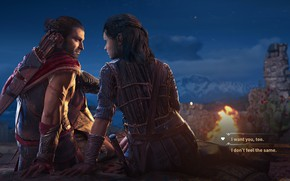 Picture night, the fire, Assassin's Creed, Odyssey, Odyssey, Assassin's Creed Odyssey, Assassins Creed, Assassins Creed Odiseya