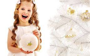Picture look, tree, ball, laughter, girl, New year, Christmas, New Year