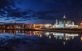 Picture night, the city, reflection, river, lighting, lights, Museum, Tula, The UPA, Ilya Garbuzov