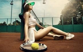 Picture pose, the ball, Girl, racket, cap, sitting, court, Kristina Fedorova, Vadim Aksenov