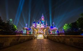 Picture rays, night, castle, CA, Disneyland, California, Disneyland, Anaheim, Sleeping Beauty's Castle, Anaheim, Sleeping Beauty Castle