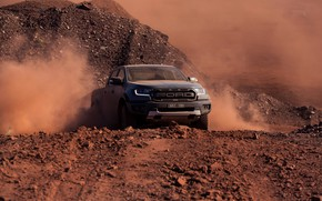Picture grey, movement, Ford, dust, Raptor, pickup, 2018, Ranger