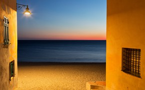 Picture sea, beach, wall, Windows, horizon, lantern, windows, wall, beach, sea, horizon, lantern
