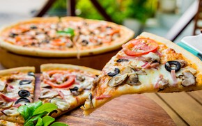 Picture mushrooms, pizza, tomatoes, piece