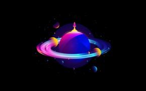 Picture fantasy, Planet, minimalism, spaceship, digital art, artwork, satellites, fantasy art, shape, simple background, vector art, …