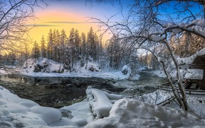 Picture winter, snow, river, dawn, morning