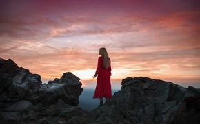 Picture the sky, girl, sunset, pose, rocks, back, height, dress, Adi Dekel