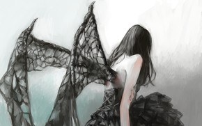 Picture girl, Gothic, wings, fantasy