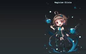 Picture magic, anime, fantasy, art, staff, Magician Elixia, Euna __ And A