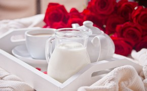 Picture tea, bouquet, morning, milk, tray