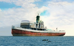Picture retro, seagulls, tug, dolphins, SP-10, steam