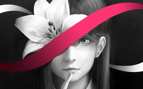 Picture flower, girl, Lily, tape, bouno satoshi