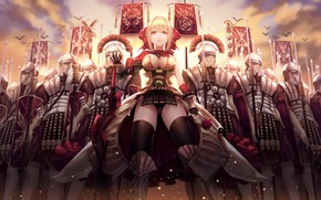 Picture girl, cleavage, soldiers, armor, breast, anime, army, weapons, blonde, swords, spears, chest, pearls, legion, banner, …