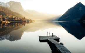 Picture lake, dog, The Salzkammergut, Austria