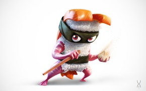 Picture food, art, ninja, sushi, Hashi, Yan Morala, Sushi Ninja