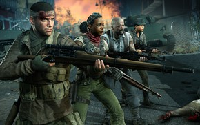 Picture weapons, blood, army, zombies, soldiers, Zombie Army 4: Dead War