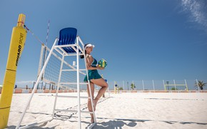 Picture girl, the ball, beach volleyball, Sergey Nibic