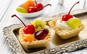 Picture cherry, kiwi, grapes, cream, dessert, tray, tartlets