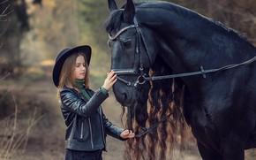 Picture nature, animal, horse, horse, spring, girl, walk, child, Victoria Dubrovskaya