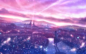 Picture road, girl, the city, fantasy