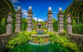Picture greens, the sky, grass, the sun, clouds, trees, design, Park, England, fountain, Arundel Castle Gardens