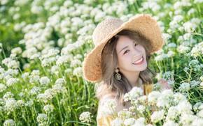Picture field, girl, flowers, Asian, cutie, bokeh