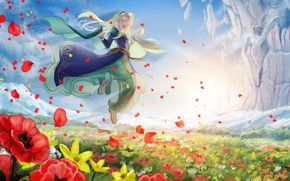 Picture flowers, nature, meadow, girl, Fate / Grand Order, The destiny of a great campaign
