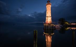 Picture night, lighthouse, Lindau