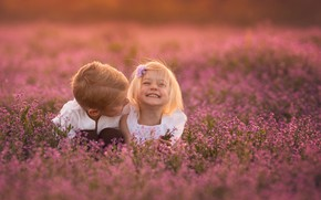 Picture flowers, children, laughter, boy, girl, Lisa Holloway