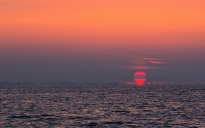 Picture sunset, lake, glow