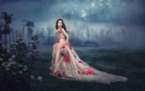 Picture girl, flowers, fog, dress, by Tatyana Nevmerzhitskaya, Pauline Knorr