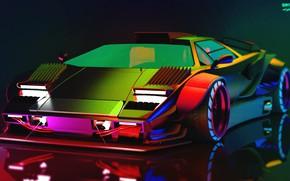 Picture Auto, Lamborghini, Neon, Machine, Car, Art, Neon, Countach, Rendering, Concept Art, Lamborghini Countach, The front, …