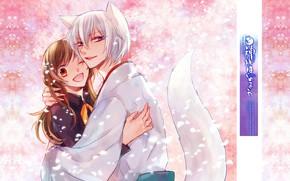 Picture hugs, smile, wink, the demon-Fox, tomoe, nanami momozono, kamisaa the hajimemashita, Fox tail, very nice …
