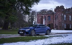 Picture snow, blue, castle, Mercedes-Benz, AMG, V8 Biturbo
