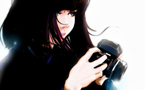 Picture hands, the camera, blue eyes, black hair, art, portrait of a girl, Punksy