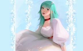 Picture girl, white dress, green hair, barrette, blue background, green eyes, on the swings, chalker