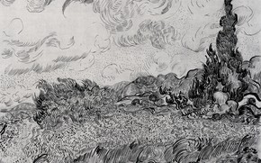 Picture Vincent van Gogh, black and white, Wheat Field with Cypresses