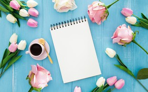 Picture flowers, coffee, Cup, tulips, Notepad, bouquets